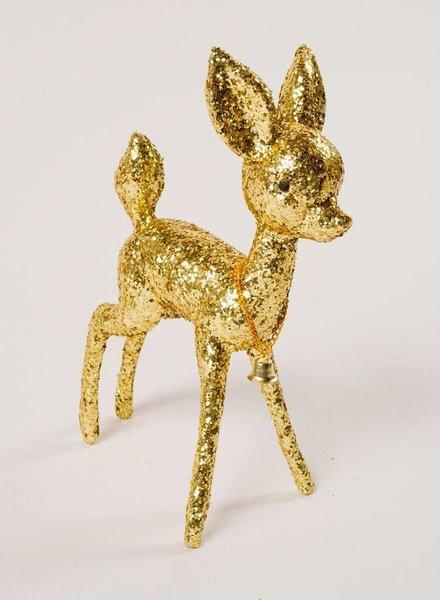 Kitsch Glitter Deer Figure Gold