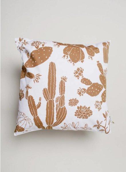 Tan Cactus Throw Pillow