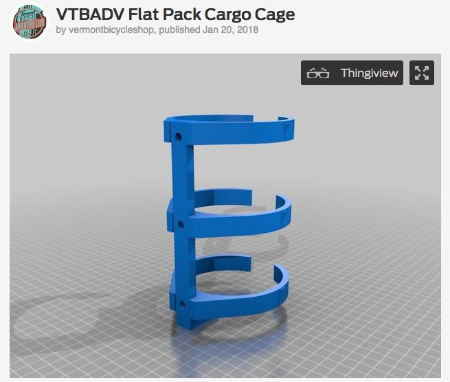 Vermont Bicycle Shop VTBADV Print on Demand Flat Pack 3 Bolt Cargo Cage