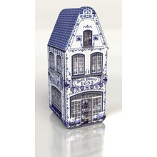"Peters Delft Blue House Tin - 7.2"" x 3"" x 2.9"" Empty Tin"