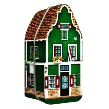 "Peters Zaanse House Tin - 7.2"" x 3"" x 2.9"" empty tin"