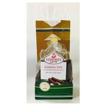 J Luehders Dark Chocolate Ginger Tips - 5.6OZ  tray