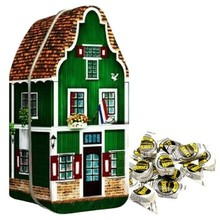 "Peters Zaanse House Tin with 7 oz bag Haagse Hopjes Coffee candy - 7.2"" x 3"" x 2.9"""