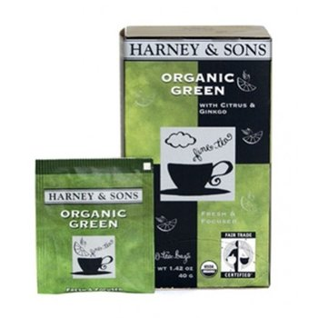 Harney & Son H&S Organic Green Tea with Ginko and Lemon 20 CT