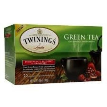 Twinings Pomegranate Rapsberry & Strawberry flavored green tea bags 20 ct