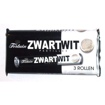 Fortuin Black & White Licorice Pastilles - 3 roll pack