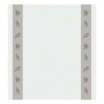 DDDDD Ivory and Grey Sparrow Tea Towel  24x25