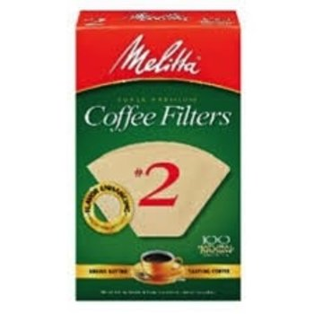 Melitta #2 Coffee Filters - 100 Natural Brown Cone Filters