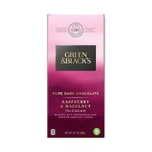 Green & Black Pure Dark Chocolate Rasberry & Hazelnut - 3.17 Oz Bar