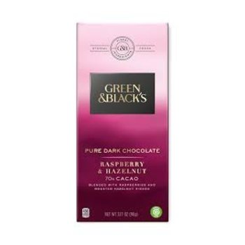 Green & Black Pure Dark Chocolate Rasberry & Hazelnut - 3.17 Oz Bar