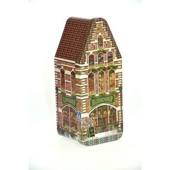 "Peters Bloemenhuisje - Flower shop House Tin - 7.2"" x 3"" x 2.9"" Empty Tin"