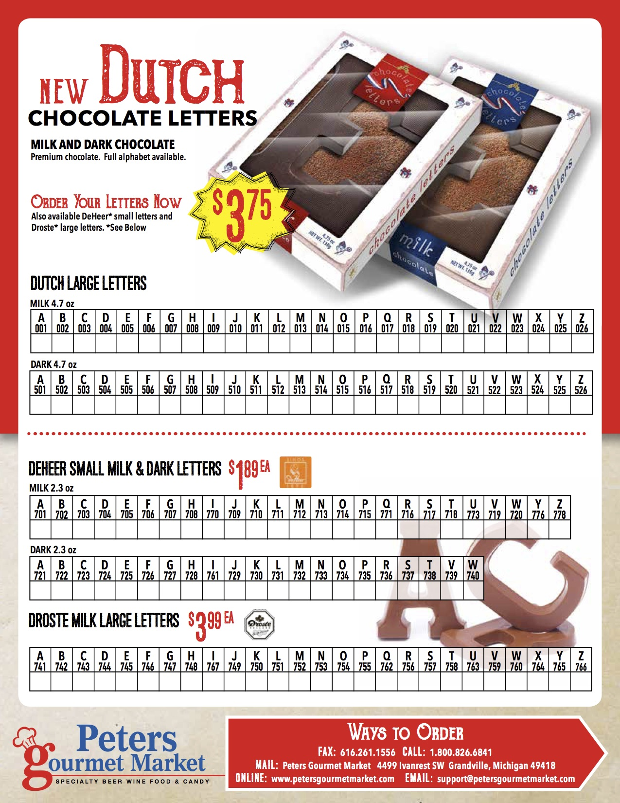 Chocolate Letter order form