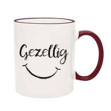 PGM Designs Gezellig Smiley Face Coffee Mug - Maroon