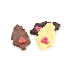 Rijkenberg Chocolate Holly Leaves Milk, White & Dark Chocolate- 5.3 oz tray