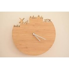 SDPL Bamboo Wall Clock Battery Operated