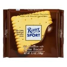 Ritter Butter Biscuit & Milk Chocolate Bar - 3.5 Oz