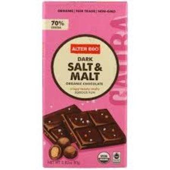 Alter Eco Dark Chocolate with Salt & Malt - 2.82 Oz Bar