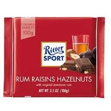 Ritter Rum Raisins & Hazelnuts in Milk Chocolate - 3.5 Oz  Bar
