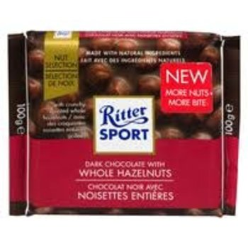Ritter Dark Chocolate with whole hazelnuts - 3.5 oz bar
