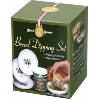 Dean Jacobs Bread dip 4 Flavors Seasonings - 2.4 oz with 4 saucers
