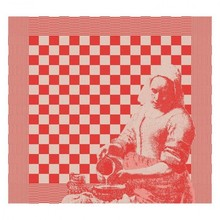 DDDDD Milk Maid design tea towel in red