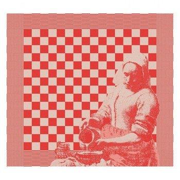 DDDDD Milk Maid design tea towel in red