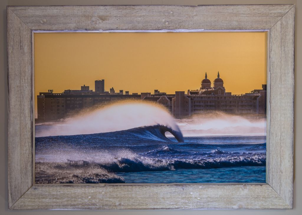 24 X 36 LIDO BEACH TOWERS NEW YORK PHOTO IN RECLAIMED WOOD FRAME