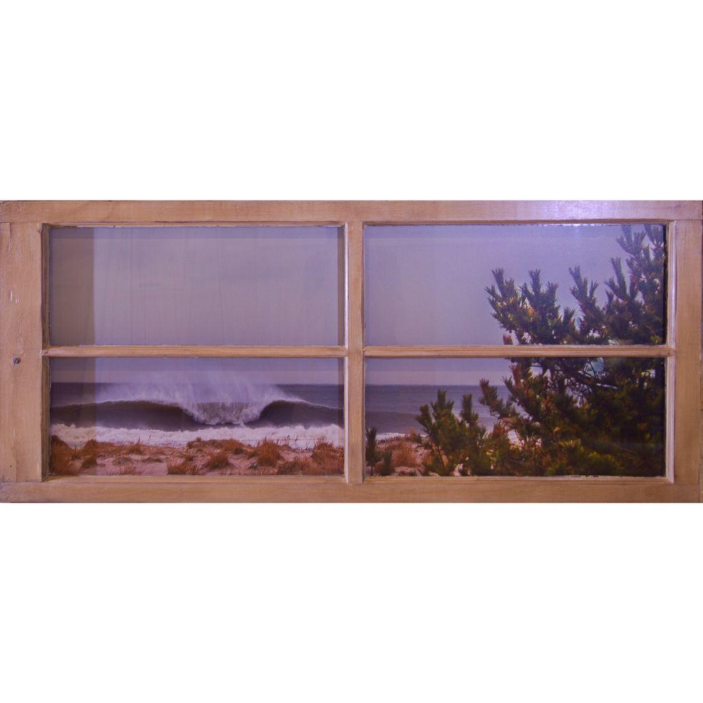 55 X 24 LIDO BEACH NY PHOTO FRAMED IN RECLAIMED WINDOW