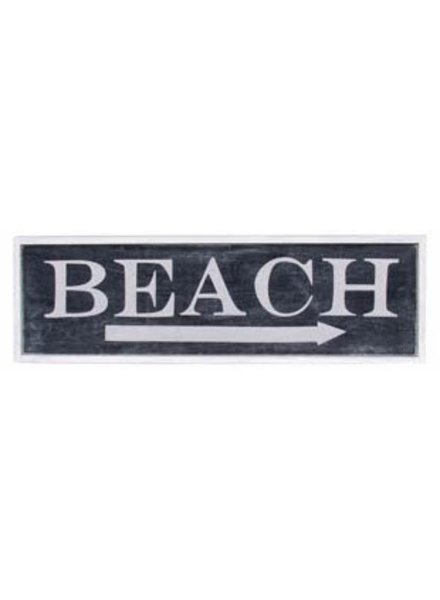 AGED BEACH SIGN BLACK