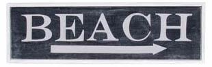 AGED BEACH SIGN BLACK