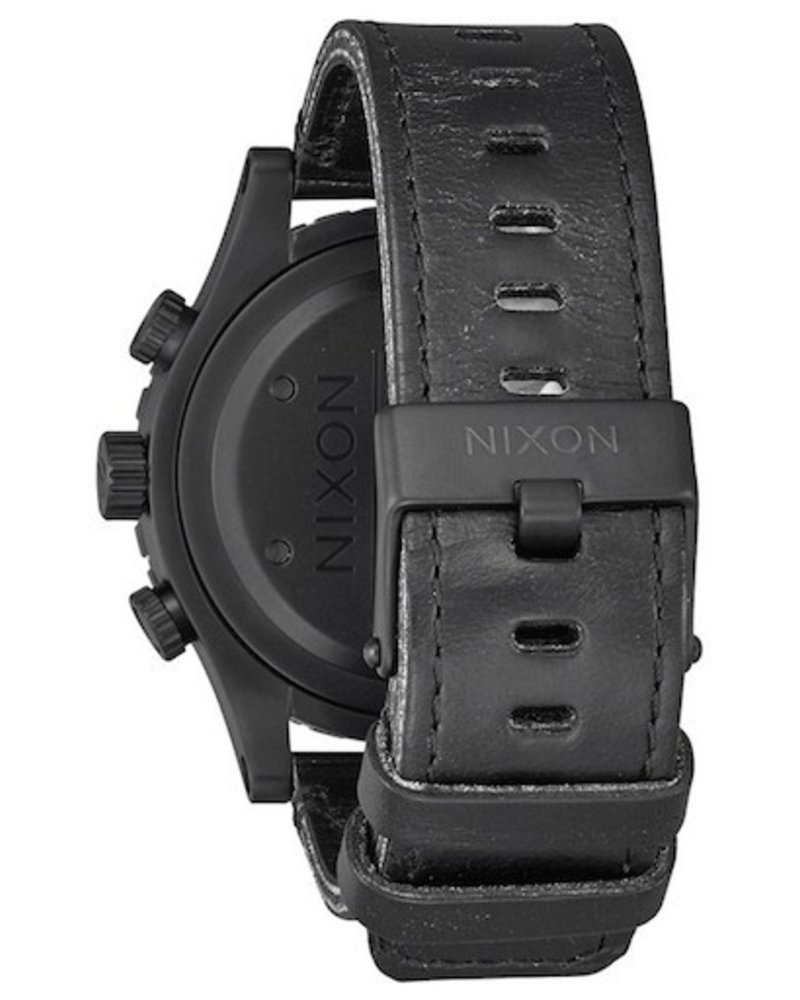 NIXON NIXON 48-20 CHRONO LEATHER ALL BLK/STAMPED