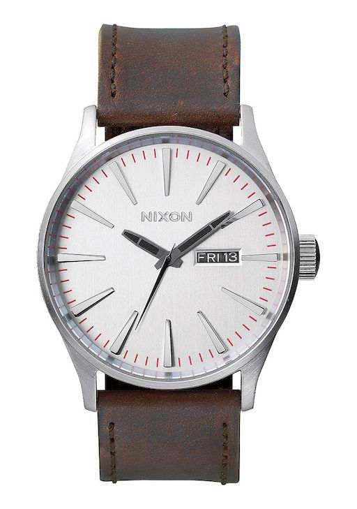 NIXON NIXON SENTRY LEATHER SILVER/BROWN