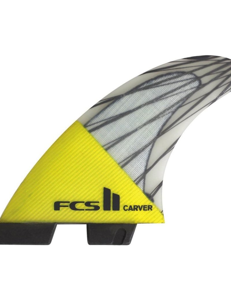 FCS FCS II CARVER PC CARBON LARGE TRI FINS YELLOW