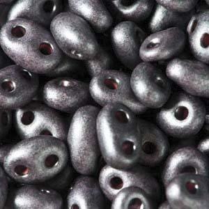 Czech Twin Beads, Jet Purple Pearl Matte, 25 gm tube