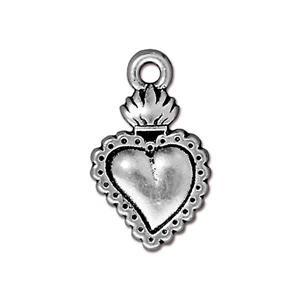Flaming Heart Charm, Antique Silver
