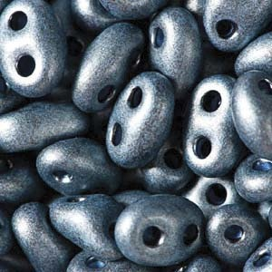 Czech Twin Beads, Jet Midnight Blue Pearl Matte, 25 gm tube