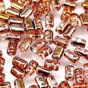 Czech Rulla Beads, Rosaline Gold Capri, 25g