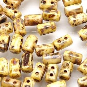 Czech Rulla Beads, Chalk Travertine Dark, 25g