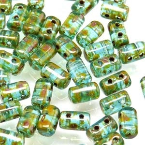 Czech Rulla Beads, Aquamarine Travertine, 25g
