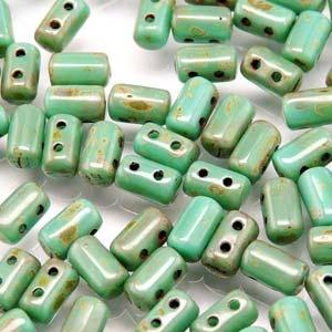 Czech Rulla Beads, Turquoise Green Travertine Dark, 25g