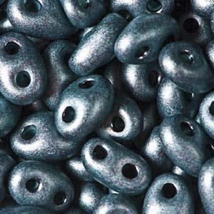 Czech Twin Beads, Jet Dark Teal Pearl Matte, 25 gm tube