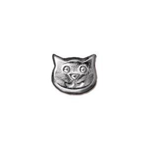 Cat Face Bead, Rhodium Plated