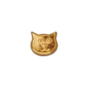 Cat Face Bead, Gold Plated