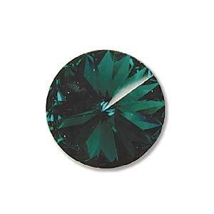 Austrian Swarovski Rivoli, 12 mm, Emerald