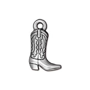 Cowboy Boot Charm, Antique Silver