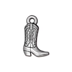 Cowboy Boot Charm, Antique Silver