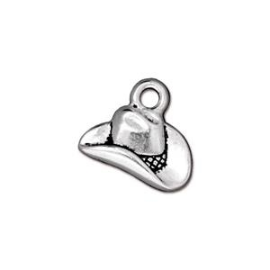 Cowboy Hat Charm, Antique Silver