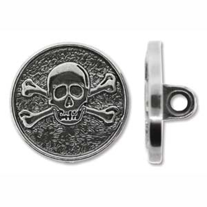 Helby Pirate Button, Antique Silver,  20mm