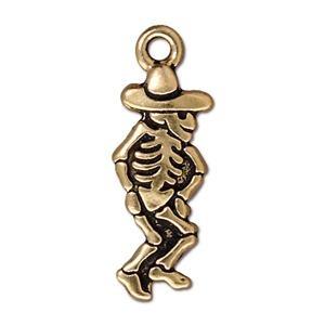 Dancing Skeleton Man, Gold Plate