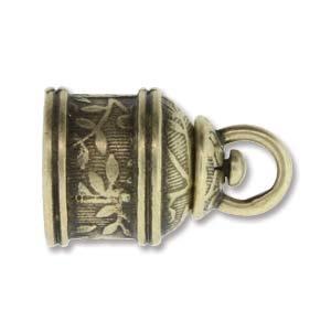 Israel Revolving End Cap, Antique Brass Finish, 10 mm, 2pcs